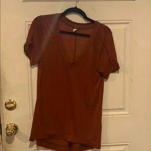 Burnt orange/ reddish free people V-neck